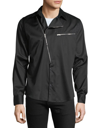 Men's Asymmetric-Zip Cotton Shirt