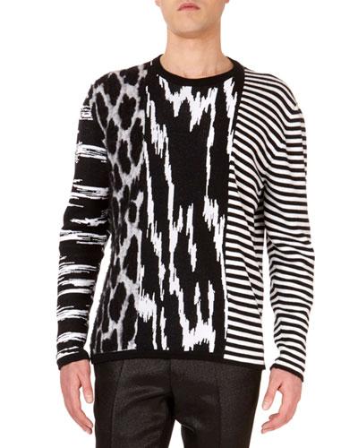 Men's Animal-Intarsia Striped Crewneck Wool Sweater