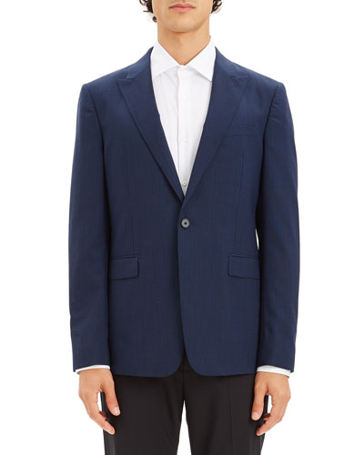 Men's Chambers Broken-Check One-Button Slim Fit Jacket