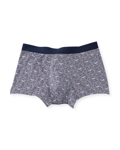Japan 2 Wave-Print Hipster Boxer Briefs, Navy