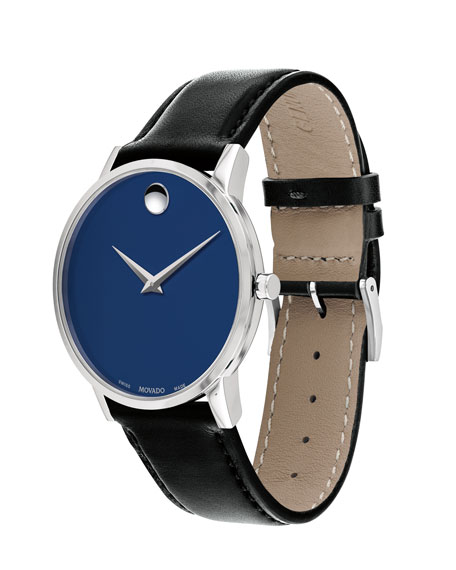 Men's 40mm Ultra Slim Watch with Leather Strap & Blue Museum Dial