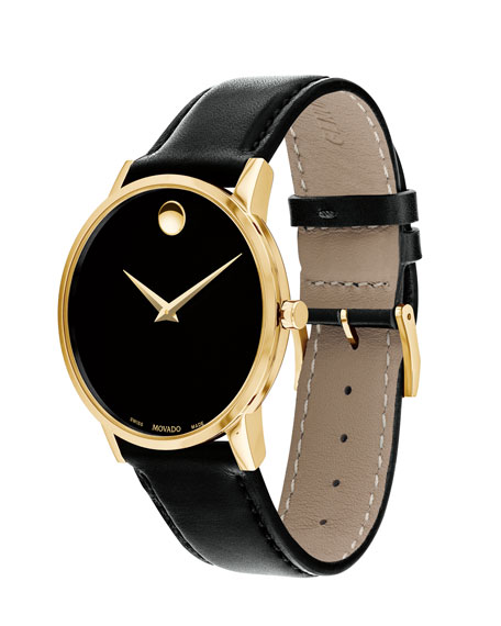 Men's 40mm Ultra Slim PVD Watch with Black Leather Strap & Museum Dial
