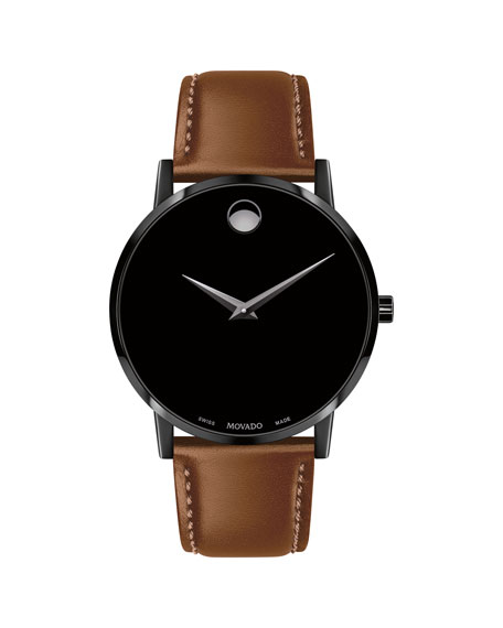 Men'S 40Mm Ultra Slim Pvd Watch With Leather Strap & Black Museum Dial, Cognac/ Black