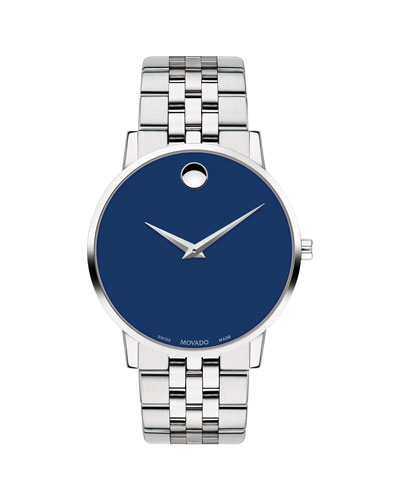 Men's 40mm Ultra Slim Watch with Bracelet & Blue Museum Dial