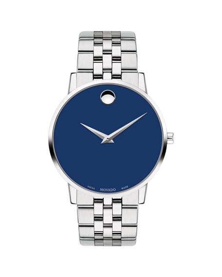Movado Men's 40mm Ultra Slim Watch with Bracelet & Blue Museum Dial