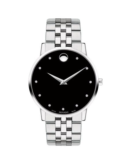 Movado Men's 40mm Ultra Slim Watch with Bracelet & Black Museum Dia