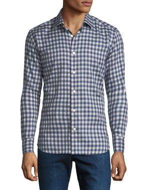 4cf68b5cb9e8f Neiman Marcus Men s Gingham Cotton Sport Shirt
