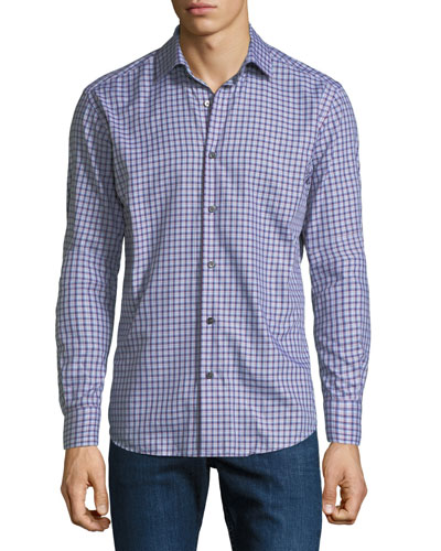 Men's Medium Tartan Plaid Cotton Sport Shirt