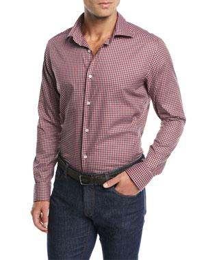 Neiman Marcus Men s Tartan Plaid Sport Shirt d4b96a57a0f91