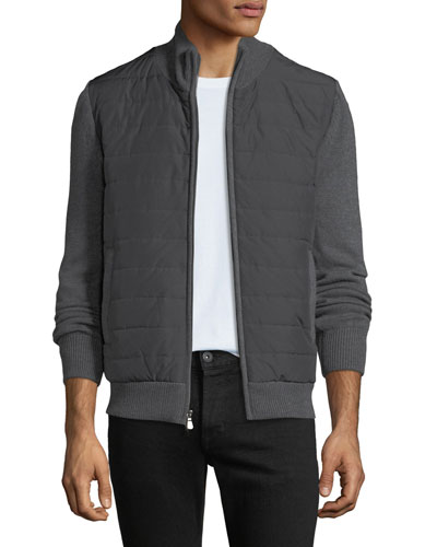 Men's Quilted Water-Repellent Jacket with Knit Trim, Gray