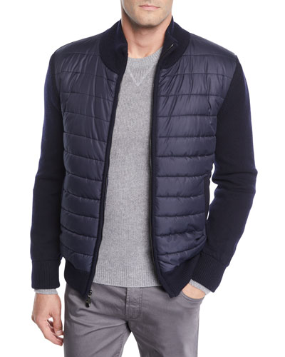 Men's Quilted Water-Repellent Jacket with Knit Trim