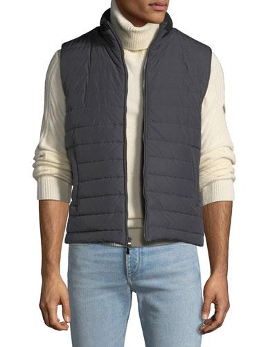 Men's Zip-Front Puffer Vest, Gray/Black