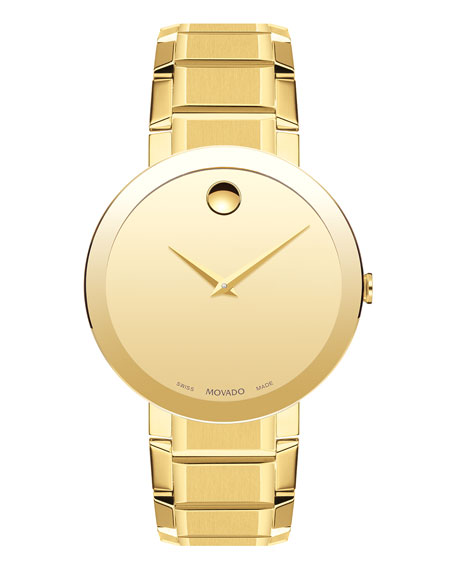 Movado Men's Sapphire Stainless Steel Bracelet Watch, Yellow Gold