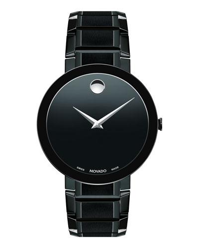 Men's Sapphire Stainless Steel Bracelet Watch, Black
