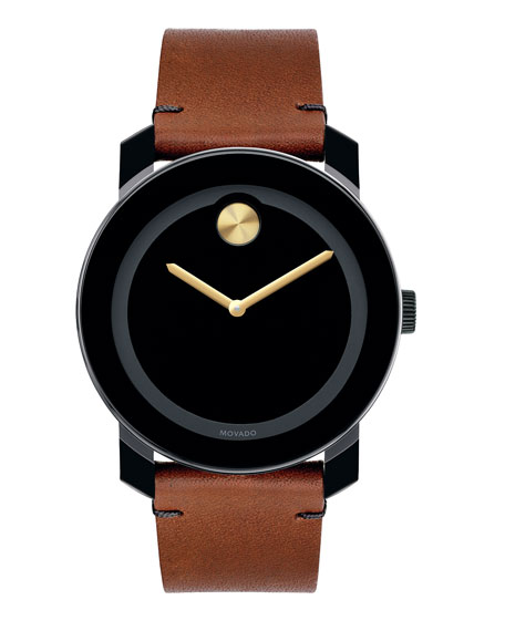 Movado Bold Men's 42mm Large Bold TR90 Watch with Brown Leather Strap