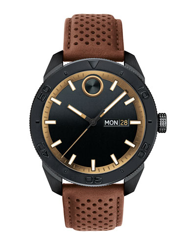 Men's 43mm Bold Sport 3-Hand Day/Date Watch with Brown Leather Strap