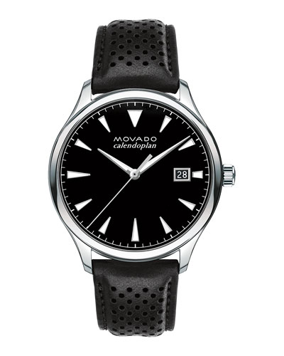 Men's 40mm Heritage Calendoplan Watch with Black Leather Strap