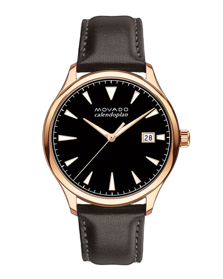 Men's 40mm Heritage Calendoplan Rose Watch with Black Leather Strap
