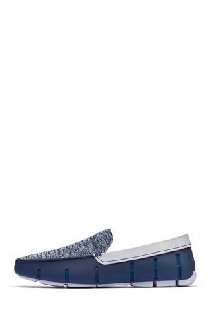 Swims Men's Waterproof Venetian Heathered-Panel Loafers, Blue/White