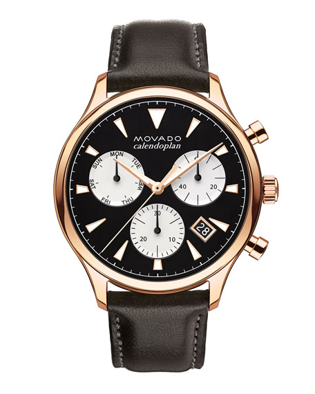 Men's Calendoplan Chronograph Watch with Leather Strap