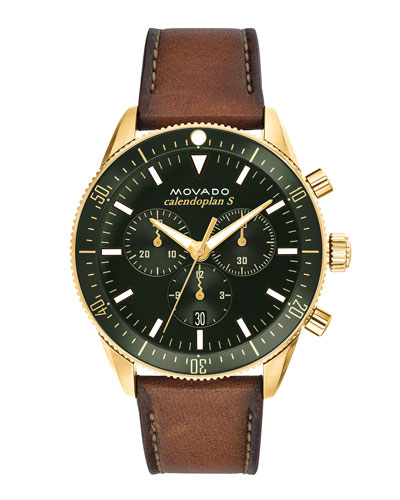 Men's Diver Chronograph Watch with Leather Strap &  Green Dial
