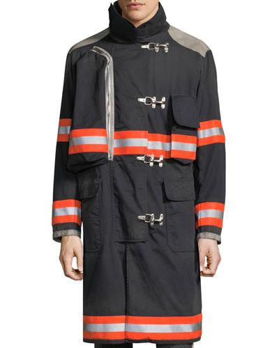 Men's Resin-Coated Distressed Fireman Jacket