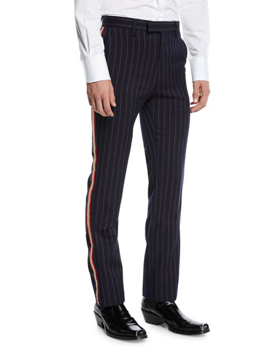 Men's Striped Cavalry Twill Marching Band Pants