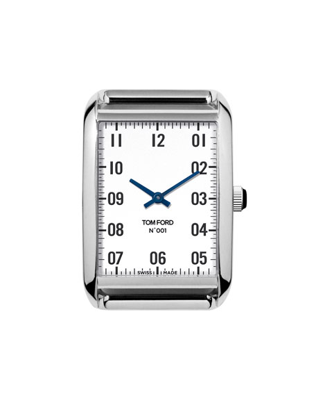 Tom Ford Cases Polished Stainless Steel Case, White Dial, Medium