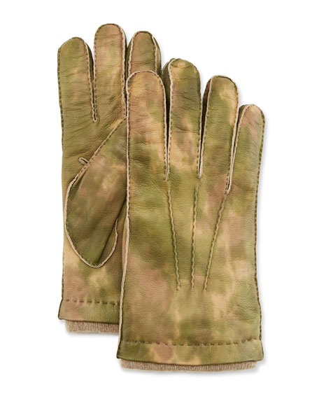 Men'S Three-Cord Lamb Leather Gloves W/ Cashmere Lining in Green Pattern