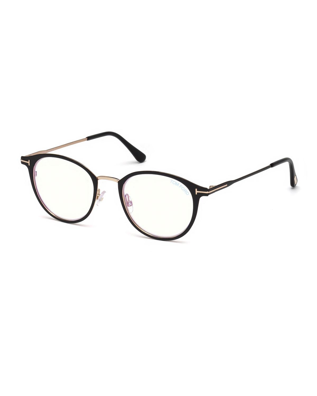 ec342ae40fefb TOM FORD Men s Blue Light-Blocking Oval Metal Optical Glasses ...