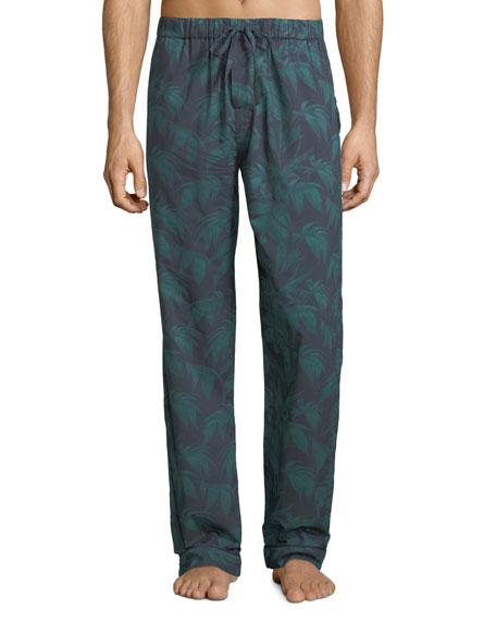 DESMOND & DEMPSEY Men'S Byron Palm Leaf-Print Lounge Pants in Multi Pattern