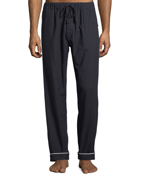 DESMOND & DEMPSEY Men'S Contrast-Piping Lounge Pants in Navy