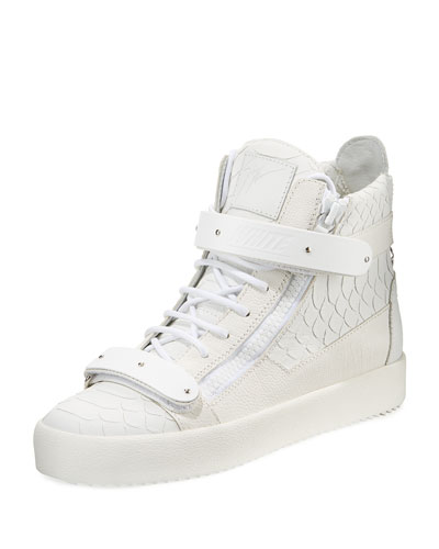 Men's Anaconda-Embossed Leather High-Top Sneakers