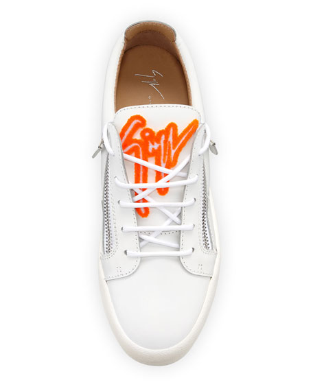 GIUSEPPE ZANOTTI Leathers MEN'S FELTED SIGNATURE LOW-TOP SNEAKERS