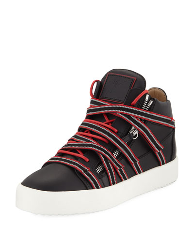 Men's Multi-Strap with Zipper and Bands Mid-Top Sneaker