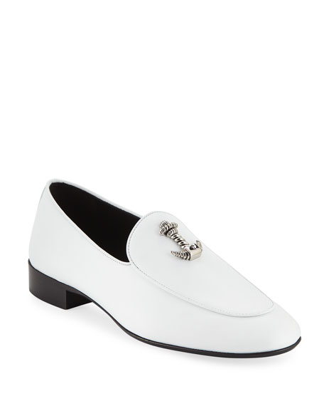 Giuseppe Zanotti Leathers MEN'S DRESSY LEATHER LOAFERS WITH ANCHOR DETAIL