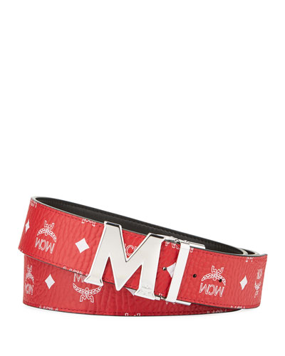Men's Claus Reversible Visetos Logo-Buckle Belt