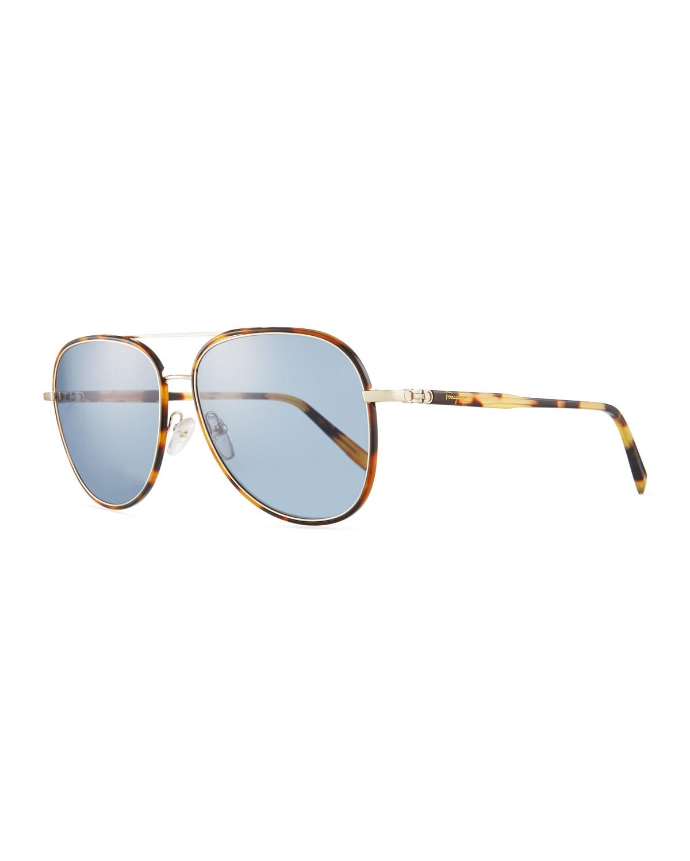 72eb383d34 Salvatore Ferragamo Men s Tortoiseshell Aviator Sunglasses