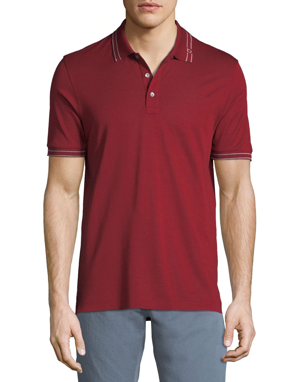 Salvatore Ferragamo Mens Tipped Cotton Polo Shirt Neiman Marcus
