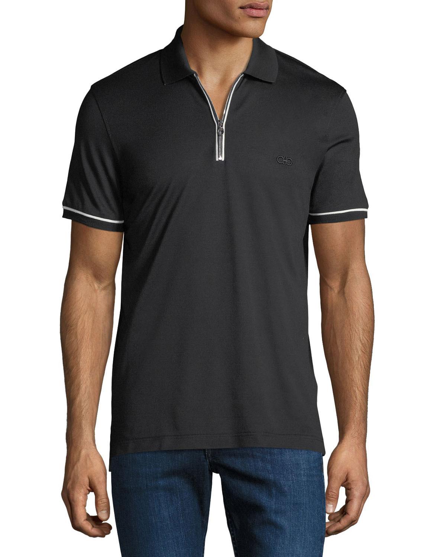 Salvatore Ferragamo Mens Tipped Zip Up Polo Shirt Neiman Marcus