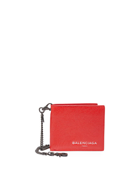 Contrast-Lined Leather Chain Wallet