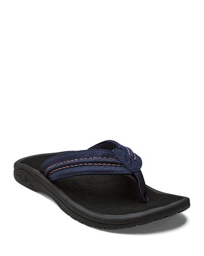 Men's Hokua Faux-Leather Flip-Flop Sandals