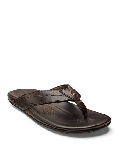 Men's Hokulea Kia Leather Flip-Flop Sandals