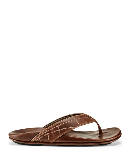 Olukai Men's Hokulea Kia Embrodiered Leather Thong Sandals