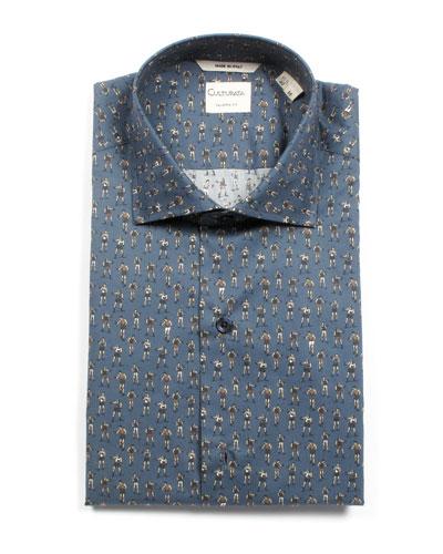 Men's Tailored Fit Retro Boxer-Print Dress Shirt