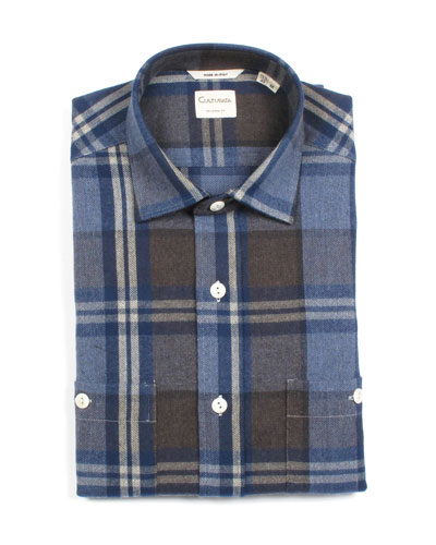 Men's Tailored Fit Large Plaid Dress Shirt with Pockets