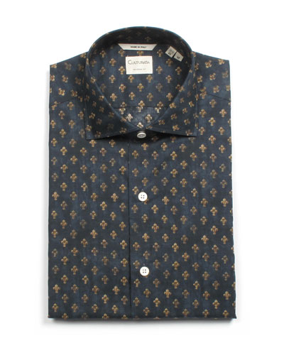 Men's Tailored Fit Fleur de Lis Dress Shirt