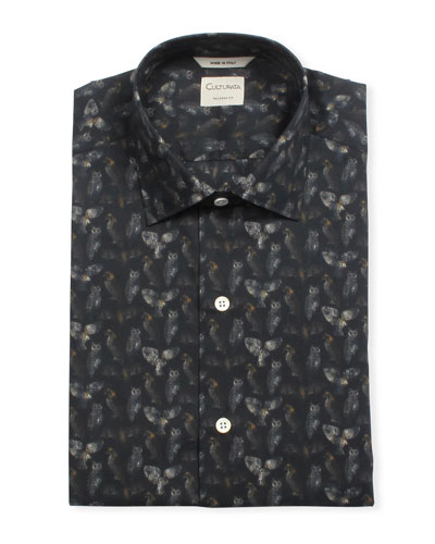 Men's Tailored Fit Owl-Print Super-Soft Dress Shirt