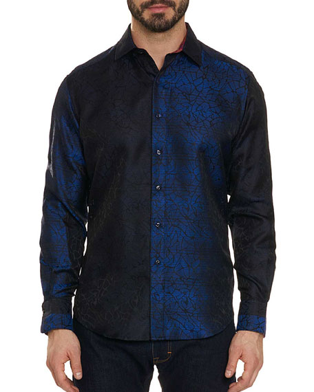 ROBERT GRAHAM Limited Edition Seibelesk Silk Color-Block Classic Fit Shirt in Navy