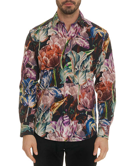 Robert Graham Men's Acadia Blooming Flowers Classic-Fit Sport